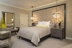 Bedroom with a chandelier