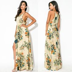Elegantíssimo vestido longo print floral Natureza