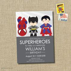 Superhero birthday party invitation - superman, batman, spiderman invitation via Etsy