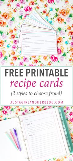 Love these super cute free printable recipe cards! She even gives two styles -- one type to fit in a recipe binder and also traditional 4 x 6 recipe cards! Head over to the post to print yours and organize your recipes! Shed Plans) Planners, Printable Recipe Cards, Recipe Printables, Planning Budget, Meal Planning, Recipe Binders, Recipe Organization, Fitness Gifts, Card Templates