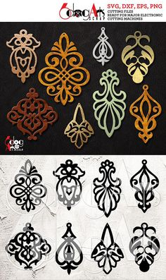 8 Leather / Wood / Acrylic Damask Scroll Earring Templates Vector Digital SVG DXF Jewelry Cut Files