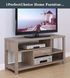 """1PerfectChoice Home Furniture 47"""" TV Stand Entertainment Storage Console Table Dark Taupe Wood. Modern TV Entertainment Stand Storage Drawer Open Shelves Wood in Dark Taupe Product Specs: TV Stand Features: -One drawer on metal glides -4 open shelves -Hold up to two players Dimension approx: 47.25"""" x 15.5"""" x 23.5""""H Dark Taupe Finish Material: Particle Board, MDF and others Some assembly may be required. Order Content: 1 x TV Stand."""