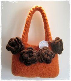 Filztasche Orange, Handtasche, Handtasche aus Filz