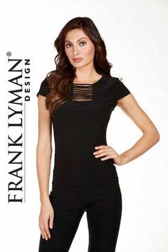 Frank Lyman Design. Pullover top with stylish front detail. Proudly Made in Canada