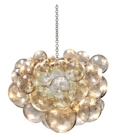 """Muriel+Chandelier+-+Cast+Resin+w/Bubbles;+Includes+Canopy+&+3-Foot+Chain *Five+Bulbs+Not+to+Exceed+40W  31.5""""Diameter+x+25""""H"""