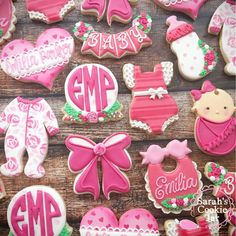 """632 Likes, 25 Comments - {sarah gutman} (@sarahscookiejar) on Instagram: """"Pretty in Pink for Emilia's baby naming  . . . . .#decoratedcookies #customcookies #royalicing…"""""""