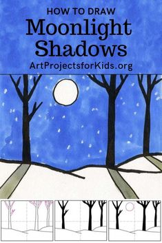 Learn how to draw Moonlight Shadows with this fun and easy art project for kids. Simple step by step tutorial available. #howtodraw