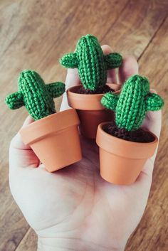 What's better than a mini knit cactus? Three mini knit cacti.