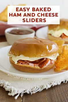 Baked ham and cheese sliders are topped with melted provolone cheese and tangy BBQ sauce for an easy 15 minute meal or game day snack. Easy Sandwich Recipes, Easy Dinner Recipes, Easy Meals, Sandwich Ideas, Healthy Meatloaf, Meatloaf Recipes, Provolone Cheese, Ham And Cheese, Best Appetizers
