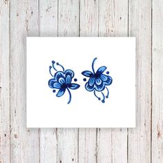 2 small Delft Blue temporary tattoos / small by Tattoorary on Etsy