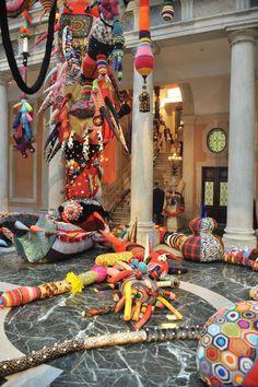 Contamination by Joana Vasconcelos. Textile Sculpture, Soft Sculpture, Environmental Sculpture, Textiles, Ceiling Art, Venice Biennale, Yarn Bombing, Art For Art Sake, Textile Artists