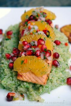 Salmon with pomegranate orange salsa