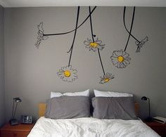 I really like the idea of a gray and yellow themed bedroom..I think this would be cute