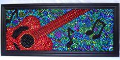 Made from Mardi Gras Beads!   Abstract guitar mosaic by BayoulandBeads    #mardigras #beads #NOLA
