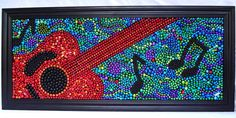 Made from Mardi Gras Beads!   Abstract guitar mosaic by BayoulandBeads    #mardigras #beads #NOLA