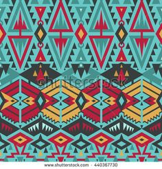 Vector Seamless Tribal Pattern for Textile Design. Stylish Art Ethnic Print Ornament with Triangles, Chevrons, Rhombuses and Stripes