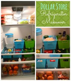 Dollar Store Refrigerator Makeover. Get organized on a budget.