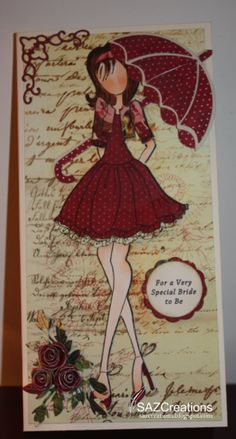 Here is a Bridal Shower Card for my niece to be Mixed Media Doll Stamp Prima Marketing Paper—Pastiche Collection Butterfly Wings Memory B. Prima Paper Dolls, Prima Doll Stamps, Card Tags, Gift Tags, Paper Art, Paper Crafts, Bridal Shower Cards, Doll Crafts, Copics