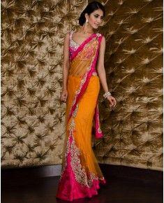 Orange And Pink Ghagra Sari Desi Wedding Saree Indian Gowns