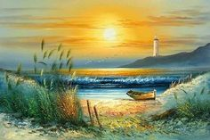 Celebrate Each New Day: Photo Watercolor Landscape, Landscape Art, Landscape Paintings, Watercolor Art, Lighthouse Painting, Boat Painting, Seascape Paintings, Nature Paintings, Boat Art