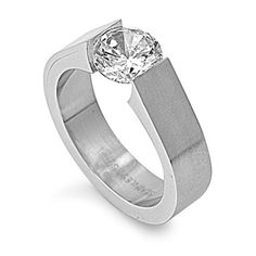 Womens Ladies Stainless Steel Tension Ring with Single Round Cut Clear CZ Men's Jewelry Rings, Jewelery, Tension Ring, Rings Of Saturn, Rings N Things, Cubic Zirconia Rings, Stainless Steel Rings, Diamond Stone, Fashion Rings
