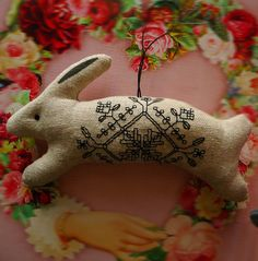 Inspiration: cross stitch  or embroidery on bunny or sheep shape.     Nordic…