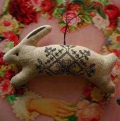 Nordic Blackwork Rabbit Christmas Ornament by CherieWheeler, $10.00