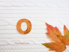 Lowercase letter o with glitter leaf and sweater knit. #fall #autumn #alphabet #typography #initial #monogram #font   maple leaf