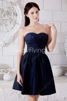 1c5a451e7f Mini Length Dark Navy Satin Sweetheart Neckline 8th Grade Graduation Dresses  With Ruched Bust