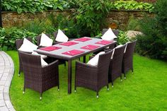 8-Seater Rattan Dining Set - Table, Chairs & Cushions
