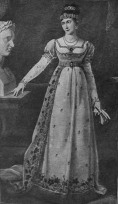 This image is of Marie-Pauline an imperial French princess. The sleeves of her dress are called cap sleeves. A cap sleeve is a very short sleeve on a dress that hangs over the edge of the shoulder without extending along the underside of the arm.