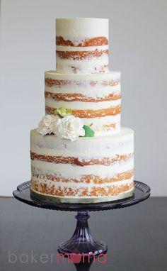 naked wedding cake....... www.bakermama.com