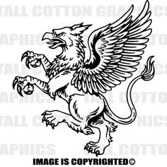 GRIFFIN - GRIFFON - GRYPHON Vinyl Decal - #FAN059 Griffin Tattoo, Fantasy Creatures, Mythical Creatures, Celtic Cross Tattoo For Men, Griffin Drawing, Karten Tattoos, Halloween Patterns, Coat Of Arms, Anchors