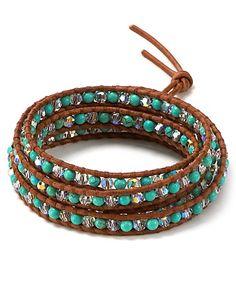 Chan Luu December Five Wrap Swarovski Crystal and Turquoise Leather Bracelet | Bloomingdale's