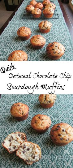 These muffins are a quick and delicious way to use your sourdough starter. The oatmeal and whole wheat flour leave you feeling full and the chocolate chips leave you feeling happy! You are going to love these oatmeal and chocolate chip sourdough muffins! Sourdough Starter Discard Recipe, Bread Starter, Sourdough Recipes, Sourdough Bread, Sourdough Muffin Recipe, Bread Recipes, Chocolate Chip Oatmeal, Chocolate Chips, Chocolate Muffins