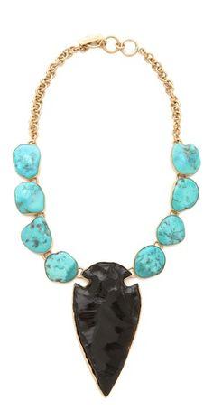 Charles Albert Obsidian Arrowhead and Sleeping Beauty Turquoise Necklace #charlesalbert #jewelry #fashion