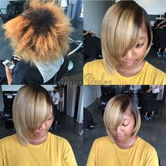 STYLIST FEATURE  Gorgeous color correction and #bobcut✂️ #transformation done by #AtlantaStylist @Kenya_Styles Blonde Ambition #VoiceOFHair ========================= Go to VoiceOfHair.com ========================= Find hairstyles and hair tips! =========================