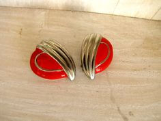 Vintage Earrings Silver Red Enamel Silver Heart Clip Made in USA  #8 by DixieVintageShoppe on Etsy