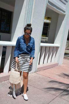 Meu Look: Listras + Jeans + Slip on em Miami