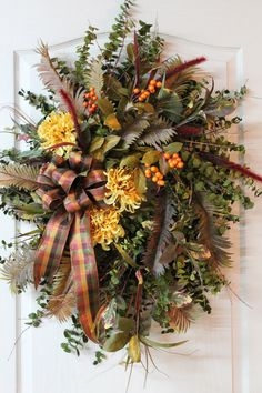 Lg. Country Wreath, Great Fragrance, Dried Green Eucalyptus, Yellow Mums & Orange Berries -- FREE SHIPPING. $198.00, via Etsy.
