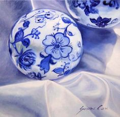 Blue and White China painting by artist Susan Cox
