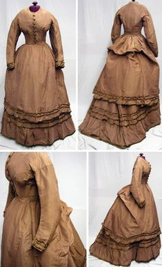 Three-piece day dress, ca. early 1870s. Tobacco brown silk faille with green-trimmed ruffles. Big skirt with internal ties and big bustle. Extant Gowns