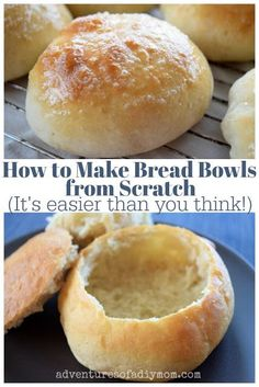 bread bowls are the perfect addition to any chowder. They are crisp on Homemade bread bowls are the perfect addition to any chowder. They are crisp on . Homemade bread bowls are the perfect addition to any chowder. They are crisp on . Bread And Pastries, How To Make Bread, Food To Make, Homemade Bread Bowls, Easy Homemade Bread, Bread Soup Bowls, Homemade Croutons, Easy Sourdough Bread Bowl Recipe, Best Bread Bowl Recipe