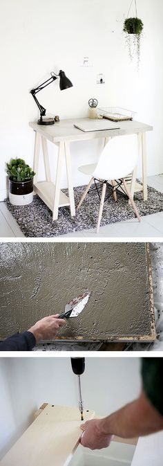 This cool, minimalist desk features a DIY concrete desktop and a simple wooden frame for the desk legs. DIYer Manda McGrath of The Merrythought explains all the steps in this tutorial. (Cement Step One Day) Concrete Furniture, Concrete Projects, Diy Concrete, Diy Furniture, Concrete Table, Minimalist Desk, Diy Interior, Home And Deco, Diy Desk