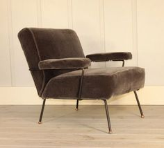 Dan Johnson for Pacific Iron Frame Mid Century Lounge Chair Copper Feet Mohair #DanJohnson