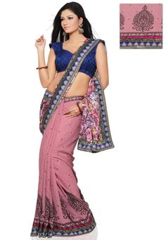 Utsav Fashion : off-white-faux-georgette-brasso-and-art-silk-saree-with-blouse