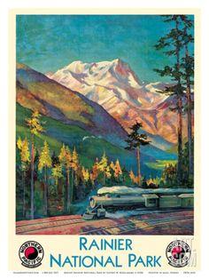 Mount Rainier National Park - Stampede Pass, Washington USA - Northern Pacific Railway Art Print by Gustav Wilhelm Krollmann at Art.com