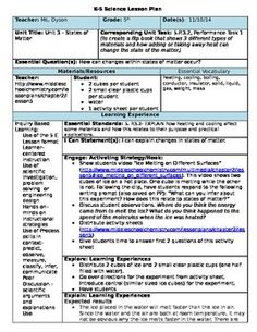 Common Core Lesson Plan Template For Middle And High School