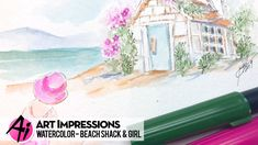 Ai Watercolor - Beach Shack & Girl