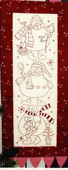 Snow Buddies quick and easy Christmas stitchery PATTERN by Nathalie Bird